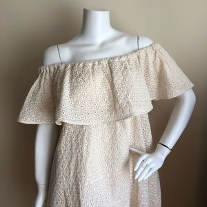 Anine Bing Dresses - NWT Anine Bing off-the-shoulder eyelet mini dress